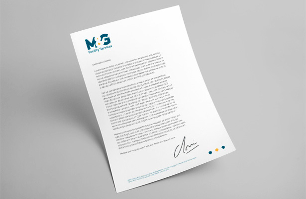 Diseño branding diseño papelería A4 M&G Facility Services Koolbrand
