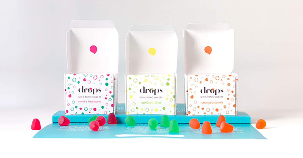 Diseño packaging cajas caramelos diseño take away Drops gin & tonic sweets Koolbrand