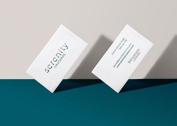 Diseño papelería y diseño logo tarjetas de contacto Serenity cruceros Koolbrand