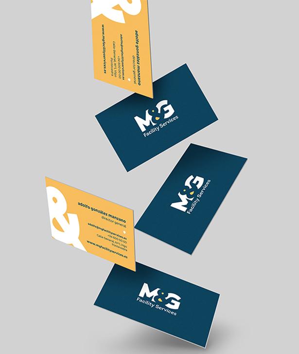 Diseño branding diseño logo diseño tarjetas de contacto M&G Facility Services Koolbrand